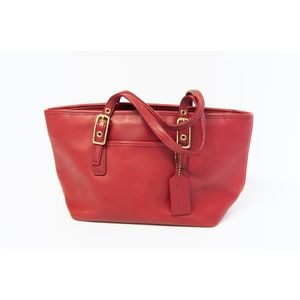 Vintage Coach Red Leather Mini Tote